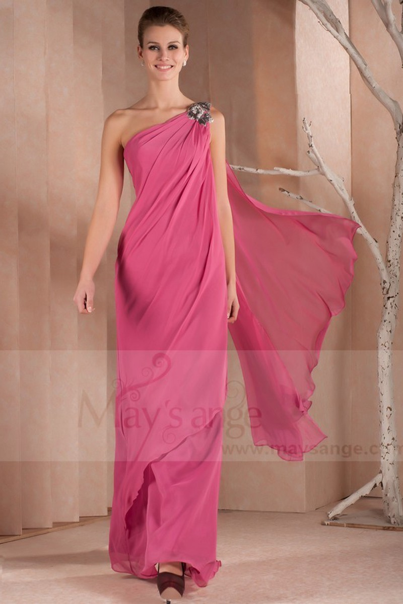 a0989221071 Long Pink Dress With One Shoulder For Your Special Event - Ref L309 - 01