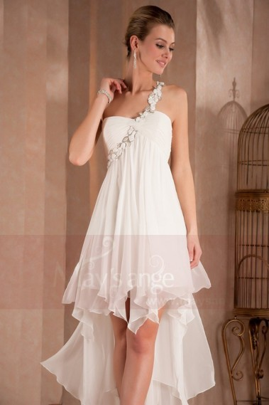 White Summer Dress Asymmetric Style - L310 #1