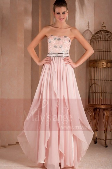 Elegant Evening Dress - STRAPLESS LONG PINK DRESS WITH GLITTER FOR WEDDING GUEST - L311 #1