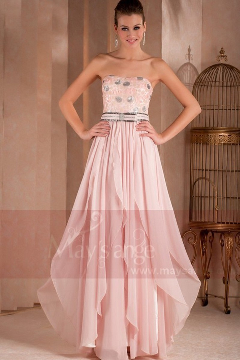 Strapless Long Pink Dress With Glitter For Wedding Guest,Gulabi Night Wedding Dress