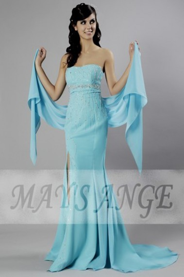 Long Dress for Wedding - Evening dress dress Sweet blue Bird in muslin and sequins - L062 #1