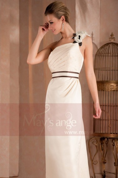 Evening Dress with straps - ELEGANT DRESS FOR CEREMONY FLORAL ON THE SINGLE STRAP - L312 #1
