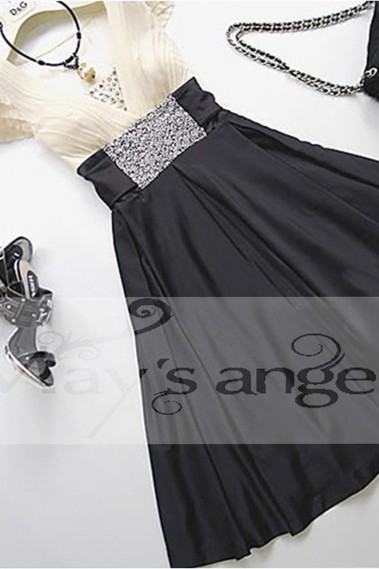 Long cocktail dress - Black And White Cocktail Dress - C038 #1