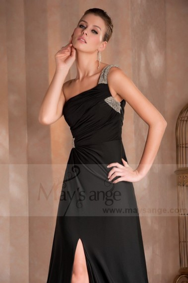 Black evening dress - Long black muslin evening gown New York with a silver strap - L406 #1