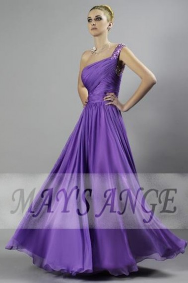 Evening dress Olivia purple color in muslin with one strap - L064 #1