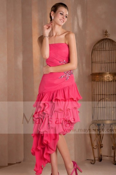 Strapless Evening Dress - flamenco evening dress pink - L416 #1