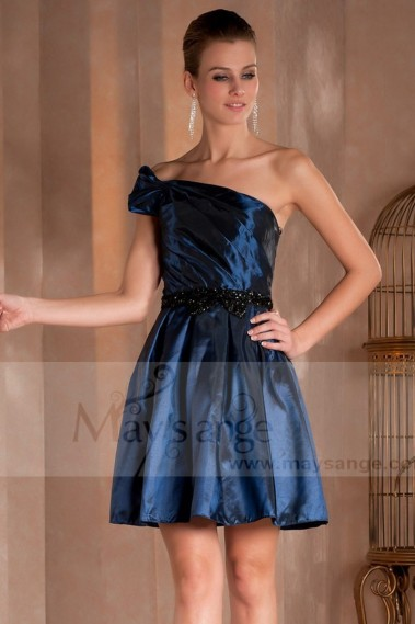Blue cocktail dress - One-Shoulder Taffeta Navy Blue Cocktail Dress With Black Belt - C403 #1