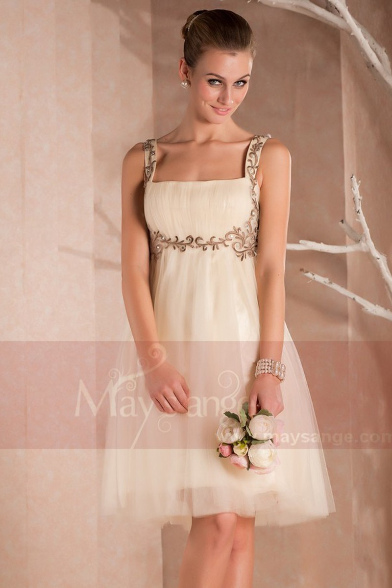 Robe courte de cocktail Eve en organza champagne - Ref C404 - 01