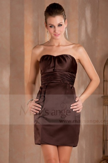 Robe courte chocolat fete Anne  en satin - C405 #1