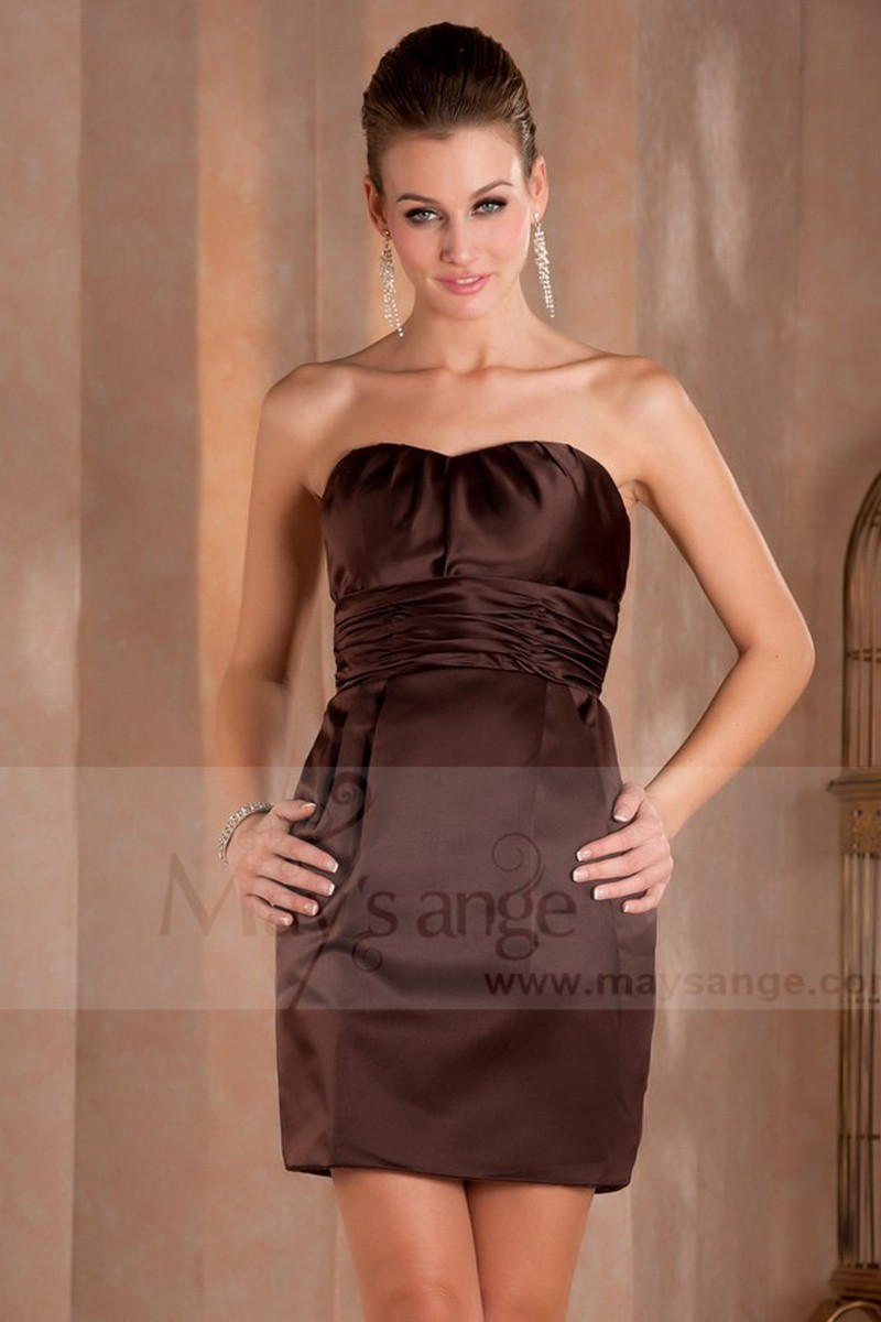 Short Brown Strapless Cocktail Dress Anna - Ref C405 - 01