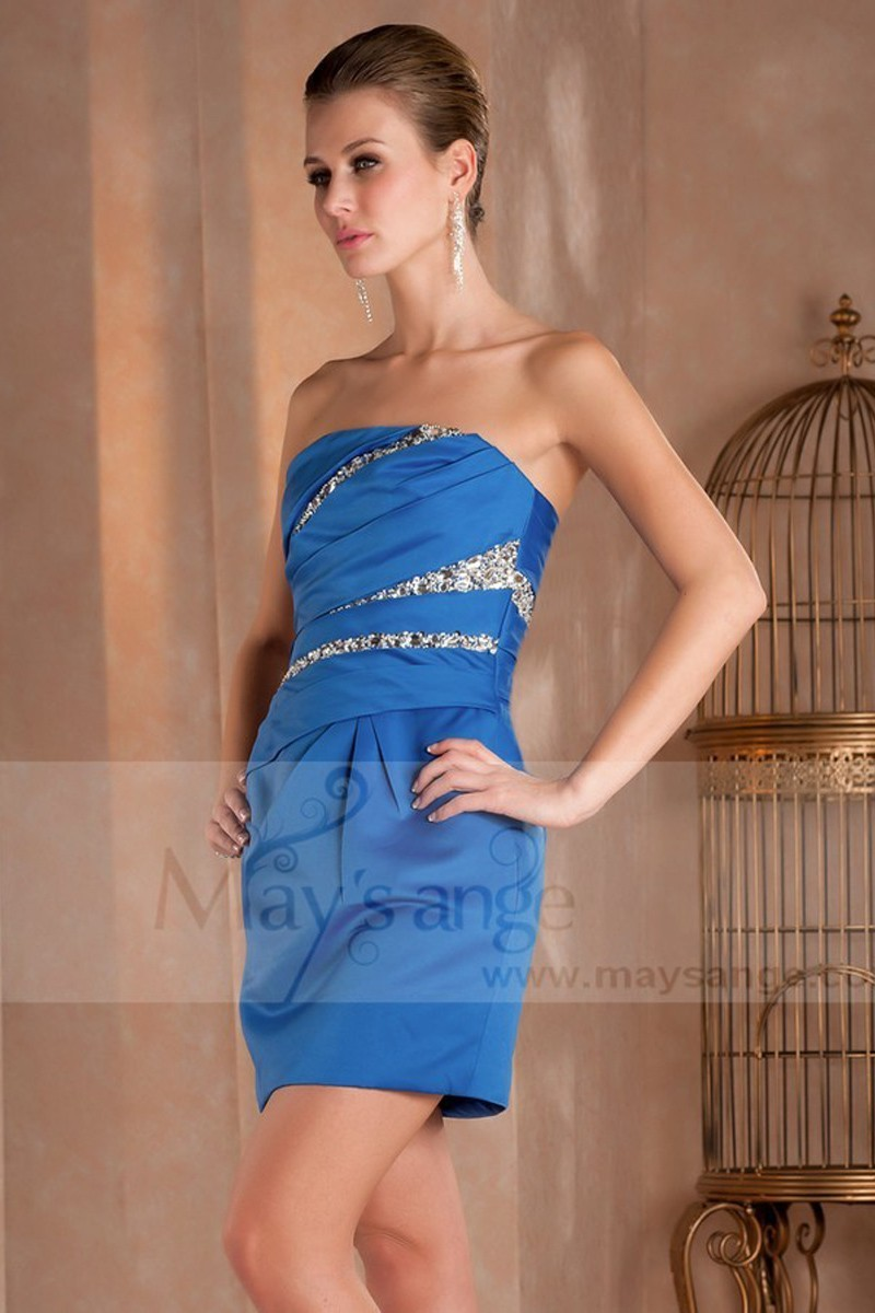 Promotion jolie robe courte de cocktail bleu satine bustier C410 - Ref C410 Promo - 01