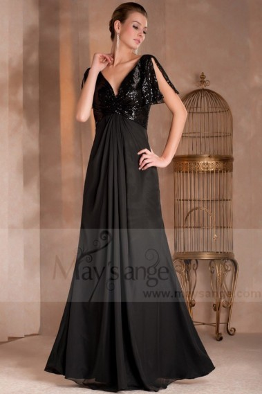Elegant Evening Dress - Short Sleeves Long Black Dress V neckline and Glittery Top - L110 #1