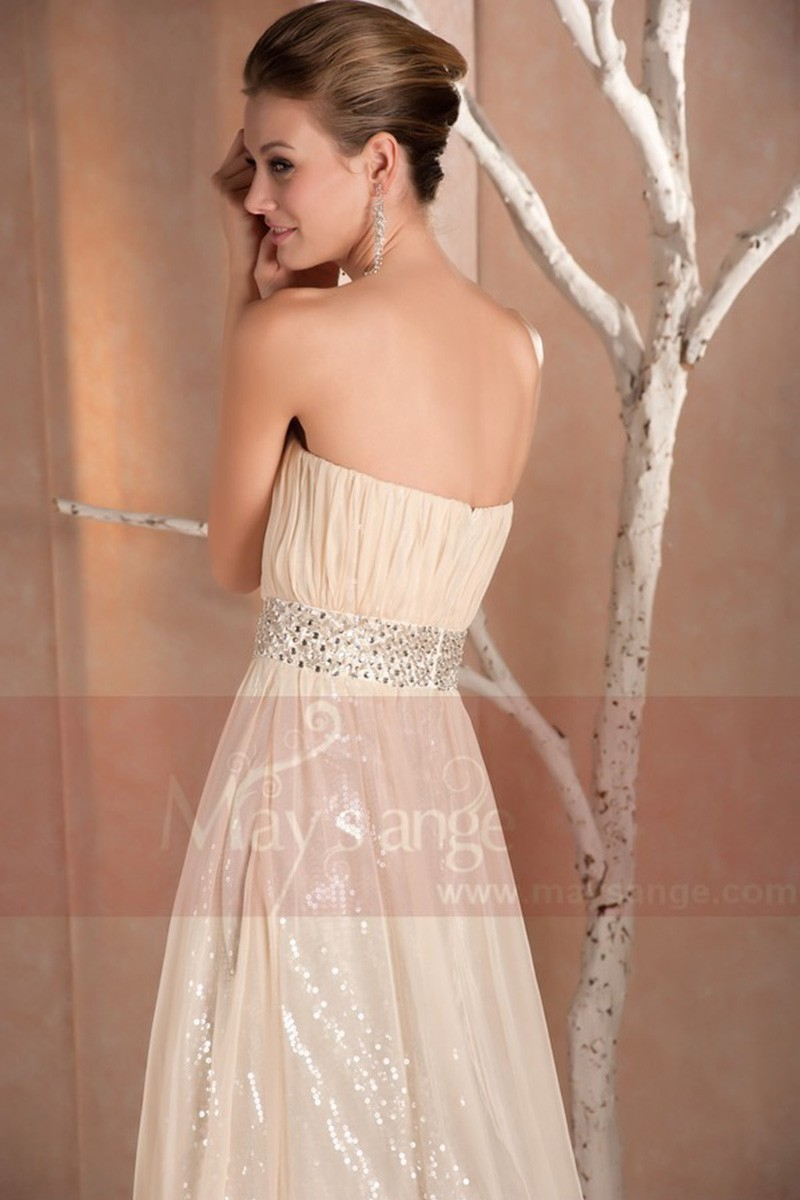 CHAMPAGNE LONG STRAPLESS DRESS FOR CHIC EVENING WITH SHINE FABRIC - Ref L165 - 01