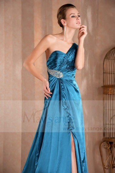 Blue evening dress - Strapless evening dress blue satin drape with single strap - L157 #1