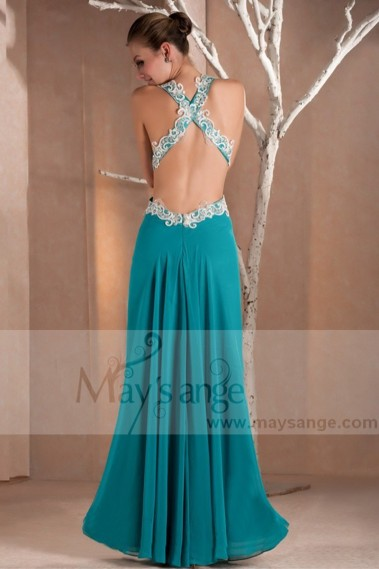 Evening Dress with straps - Sexy Turquoise Long Dress Deep V Neckline And Slit In Front - L141 #1
