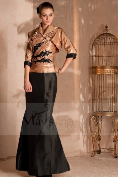 TWO-TONE EVENING DRESS MERMAID CUT WITH MATCHING BOLERO - L166 #1