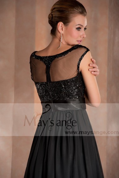 Fluid Evening Dress - Black Party Dress With Cap- Sleeve - L093 #1