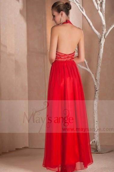 Red evening dress - Sexy Red Cocktail Dress Backless And Straps On The Neck - L031 #1
