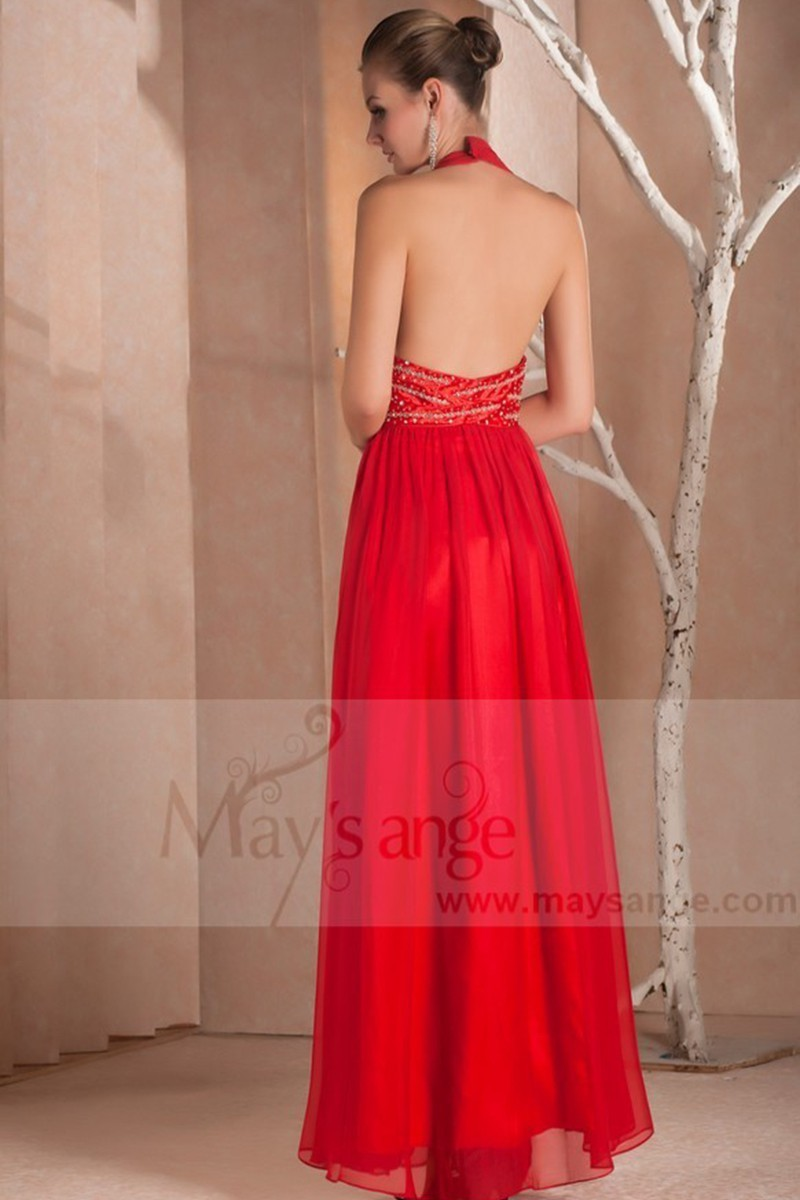 Sexy Red Cocktail Dress Backless And Straps On The Neck - Ref L031 - 01