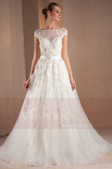 White wedding dress - Bridal gown Flor - M310 #1