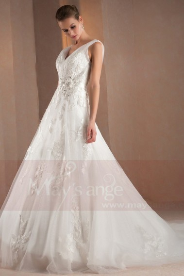 Long wedding dress - A-Line V-Neck Open Back Boho Wedding Dress With Appliques - M312 #1