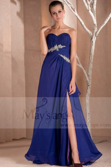 Long bridesmaid dress - Aquamarine Long Dress Navy Heart Bust Beach For Wedding Guests - L167 #1