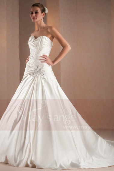 A-Line Court Train Satin Wedding Dress With Pearls