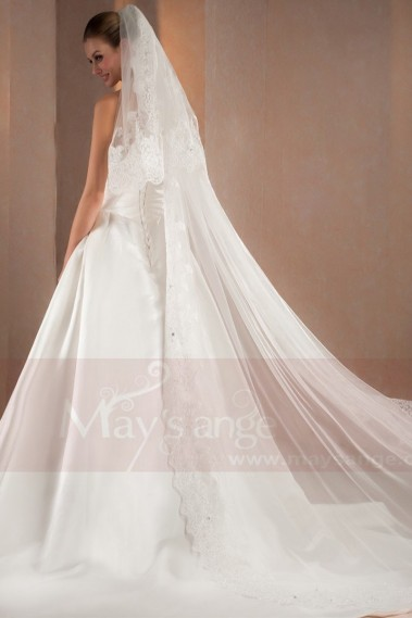 Long wedding dress - Draped Satin Strapless Modern Wedding Dresses - M319 #1