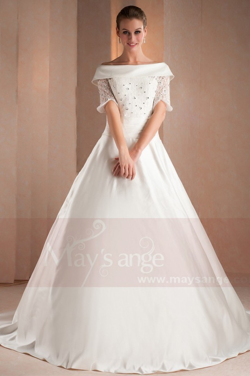 Off-The-Shoulder Lace Satin Bridal Dresses With Rhinestones - Ref M322 - 01