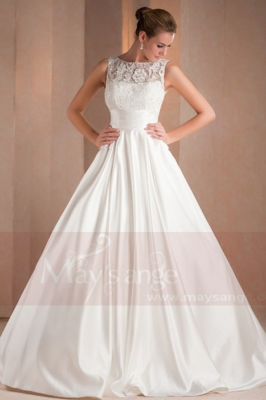 Long wedding dress - Illusion Satin Bridal gown Angelique - M325 #1