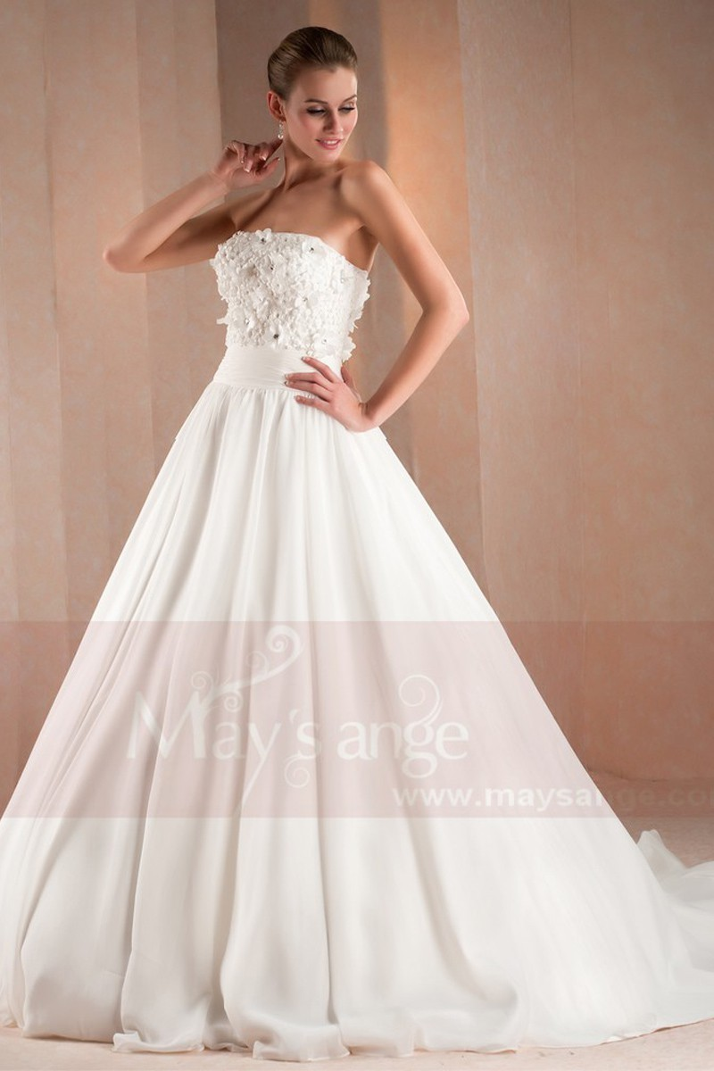 Beautiful Flower White Strapless Bridal Gown - Ref M331 - 01