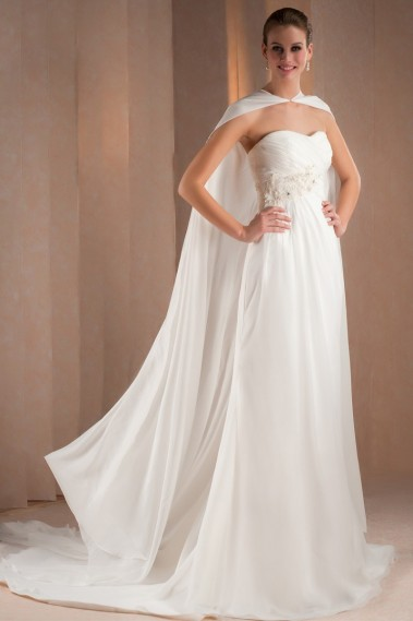 White wedding dress - Empire Strapless Chiffon Bridal Gown With Cape - M327 #1