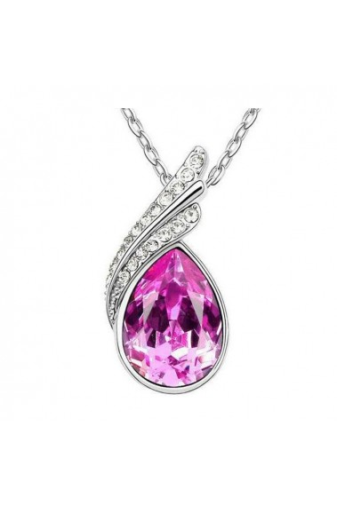 Best pink crystal pendant silver chain - F040 #1