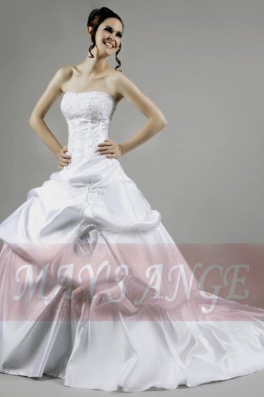 Long wedding dress - Cheap wedding dress Bilbao white with lacing on the back - M002 #1