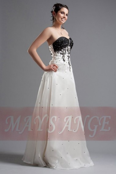 Long wedding dress - Affordable wedding dresses Black and White - M003 #1