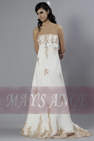 Long wedding dress - Strapless A-Line Wedding-Dress With Golden Embroidery - M004 #1