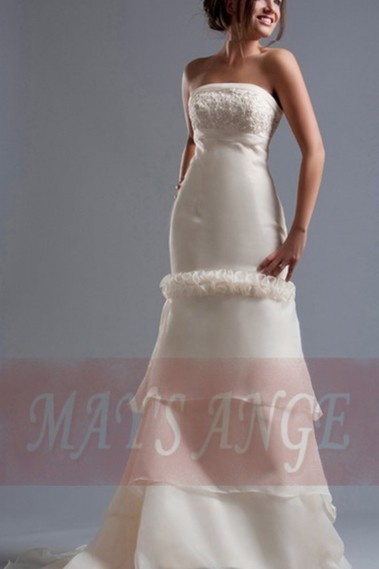 White wedding dress - Vintage wedding dress Amber mermaid style - M005 #1