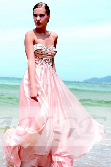 Pink evening dress - Fancy Dress balance also rose - PR030 #1