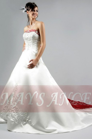 Long wedding dress - Grace Kelly White and Red Wedding Dress | Grace Kelly Bridal Gowns - M006 #1