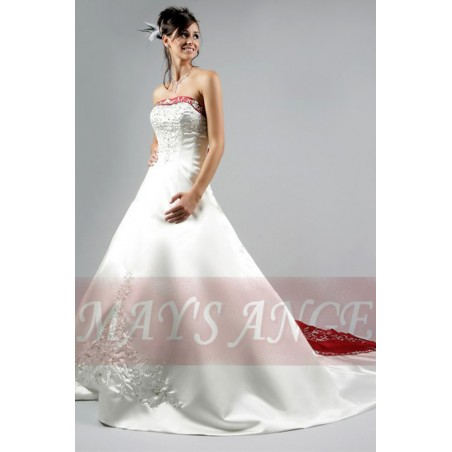 Online wedding dresses Grace Kelly with long train white and red