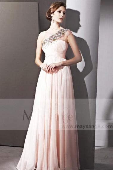Evening Dress with straps - SPLENDID PINK DRESS ONE SHOULDER FOR WEDDING GUEST - PR058 #1