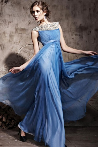 Blue evening dress - Evening dress empress blue - PR070 #1