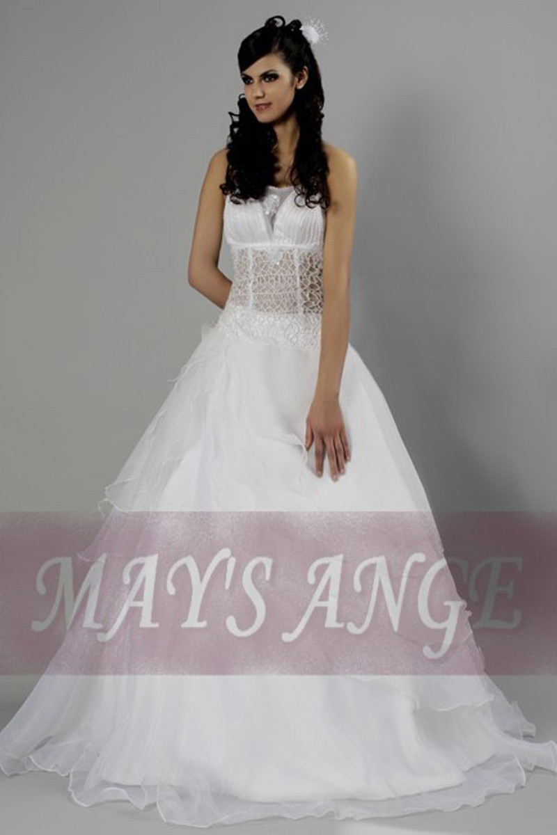 Affordable wedding dress Crystal with beautiful see-through bustier