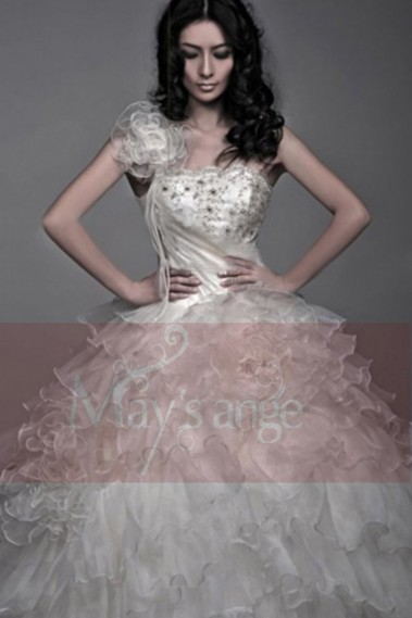 Long wedding dress - Wedding dress Clear Swan with one strap - M009 #1