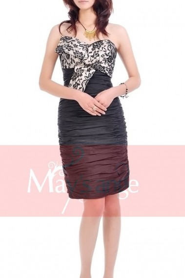 Taffeta Black Straight Cocktail dress with Lace Bodice - C051 #1