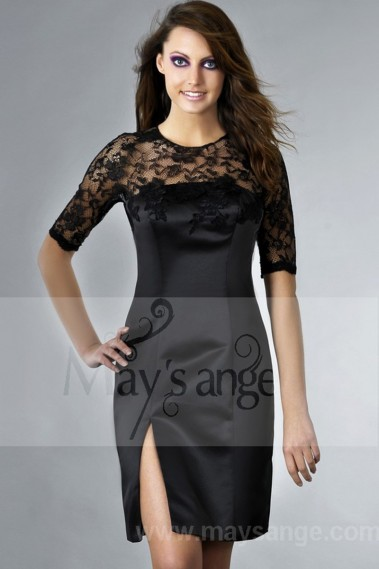 Discount black satin cocktail dress lace C132 - C132 Promo #1