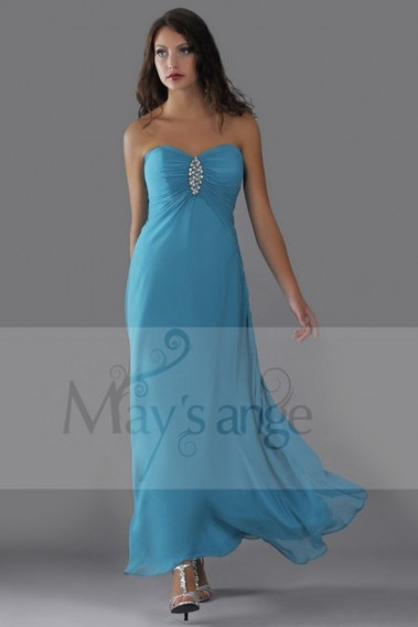 Formal evening straight dress Dolphin in muslin with strass on the breast - L078 promo #1