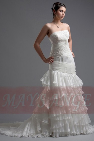 White wedding dress - Lace wedding dress Sao Polo with long train - M010 #1