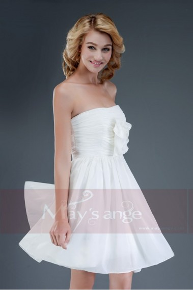 Short evening dress - Simplicity Strapless Short White Cocktail Dress - C089 #1