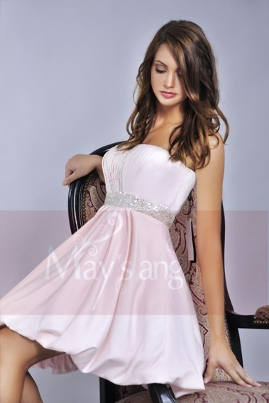 Long cocktail dress - Pink Strapless Ball Gown For Prom With Rhinestones - C052 #1